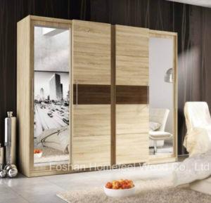 Melamine 2 Sliding Door Mirror Built-in Wardrobe (HF-EY093) pictures & photos