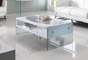 White MDF Coffee Table with Oval Glass on The Top pictures & photos