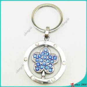Light Blue Stone Flower Metal Key Chain Wholesale (KR16041917)