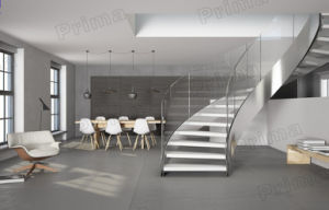 Solid Wood Curved Staircase with Glass Rails pictures & photos