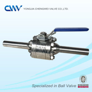 3PC Forged Steel Floating Ball Valve with Extended Pipe