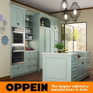 Oppein Modern Green Galley Luxury PVC Kitchen Cabinet (OP15-PVC03) pictures & photos