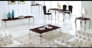 Luxury Design Top Red Marble Wavy Metal Dining Table (A8027)