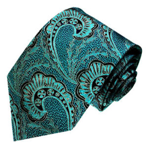 New Fashion Green Colour Background Turkey Flower Pattern Men′s Woven Silk Neckties pictures & photos