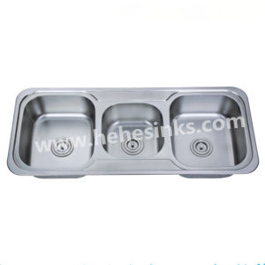 Above Counter Triple Bowl Stainless Steel Kitchen Sink (11548B) pictures & photos
