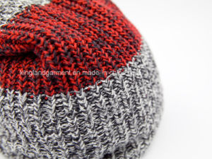 100% Acrylic Mixed Ab Yarned Striped Knitted Hat pictures & photos