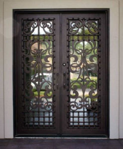 Wire-Electrode Cutting Square Top Wrought Iron Double Door pictures & photos