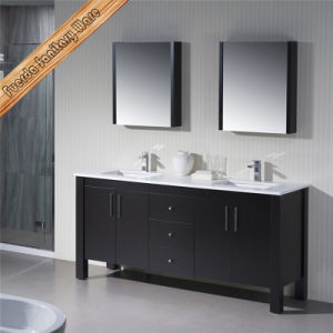 Fed-1167 Double Cupc Sinks Free Standing Solid Wood Stone Top Bathroom Cabinets pictures & photos
