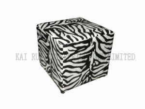 PVC Leather Fashion Zebra-Stripe Black White Ottoman