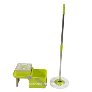 Hand Press Spin Mop with Folding Plastic Basket Bucket (SL-S012)