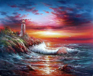 Handmade Original Framed Sea Sunset Landscape Oil Painting (LH-324000) pictures & photos