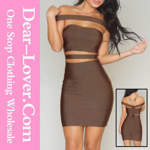 Coffee off-Shoulder Cut-out Bandage Dress pictures & photos