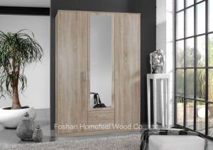 Wooden Mirror Wardrobe for Home Bedroom Furniture Set (HF-EY084) pictures & photos