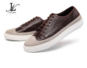 Men′s Fashion Leather and Canvas Casual Shoes (CAS-029) pictures & photos