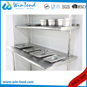 Stainless Steel Round Tube Shelf Reinforced Robust Construction Kitchen Workbench with Extra Shelf and Heigh Adjustable Leg pictures & photos