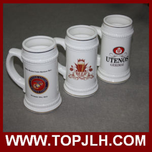 22 Oz Ceramic Beer Mug with Gold Rim pictures & photos