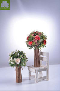 Artificial Rose with Boxwood Ball in Paper Mache Pot pictures & photos