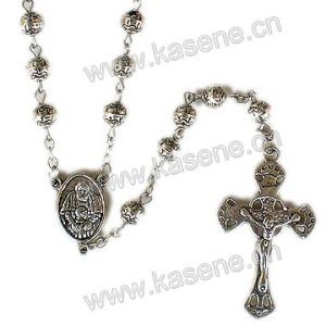 Fashion Metal Cross Bead Cross Rosary, Religious Metal Necklace