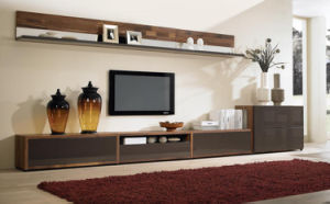 2016 Latest Walnut Wood TV Stand Set for Home (WT-008)