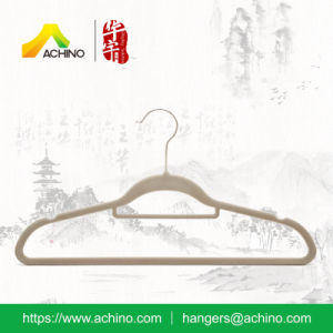 Grey Ultra Slim Velvet Clothes Hanger (FSH104) pictures & photos