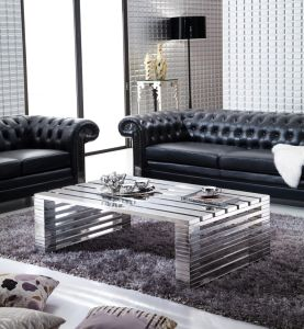 Black Leather Button Sofa 3-Seaters, Stainless Steel Legs Sofa Yh-136 pictures & photos