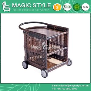 Outdoor Wicker Trolley with Wheels Wicker Trolley Restaurant Trolley Buffet Trolley (Magic Style) pictures & photos