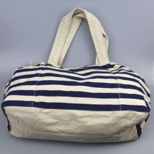 Stripped Printing Canvas Handbag Women Shopping Big Leisure Handbag pictures & photos