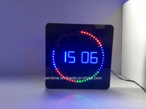 LED Clock with Circling LED Second Indicator - Square Shape pictures & photos