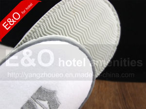 Velvet Velour Slippers with Embroidery Logo Design pictures & photos