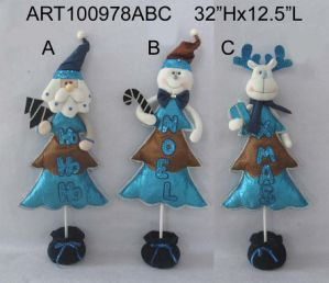 Santa, Snowman and Moose Decoration Christmas Decoration Tree, 3 Asst- pictures & photos