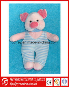 Plush Sitting Soft Pink Pig Toy with Romper pictures & photos