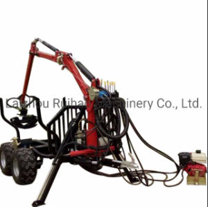 Hydraulice ATV Log Wood Timber Trailer with Crane Grapple for Forestry Machiery