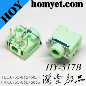 3.5mm Audio Connector DIP Type Green Color Phone Jack with Shrapnel (HY317B) pictures & photos