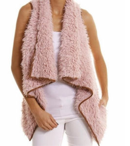 Monogrammed Cream/Tan Faux Fur Vest (10122) pictures & photos