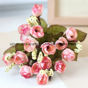 Cheap Artificial Mini Rose Bud Flower Bouquet with 5 Branch&15 Heads