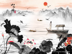 God Rewards The Diligent Painting Chinoiserie Corrugated Paper with Bamboos and Carps pictures & photos