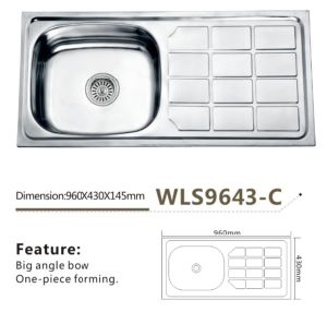 Stainless Steel Kitchen Sink One-Piece Wls9643-C