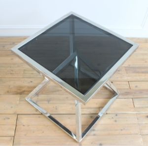 Stainless Steel Black Glass Top Side Table Coffee Table pictures & photos