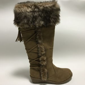 Fashion Flat Heel Ladies Knee High Boots with Fur pictures & photos