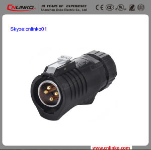 High Safety Performance Cnlinko IP67 4pin Power Applicaton Connector Male Plug for LED Display pictures & photos