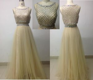 Two Pieces Top Skirt Evening Dress with Heavy Beaded Bodice