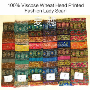100% Viscose Hot Sale Fashion Wheat Head Florets Printed Scarf pictures & photos