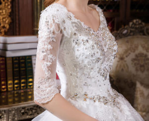 Sparking Wave Skirt Rhinestone Embroidery Sequin Lace Wedding Ball Gown Dress pictures & photos