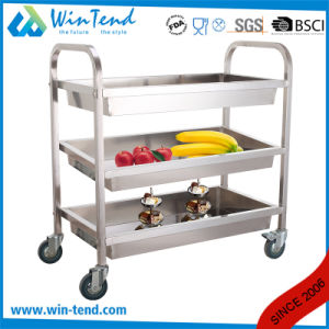 Square Tube 3 Tiers Stainless Steel Deep Shelves Trolley for Cleaning and Collecting with 4′ Wheel pictures & photos