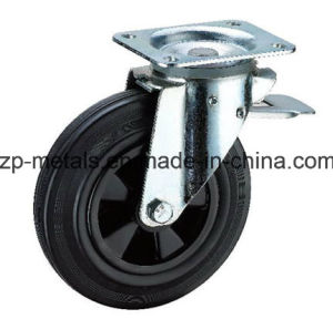 6 Inch Plastic Trash Can Rubber Caster Wheel with Brake pictures & photos
