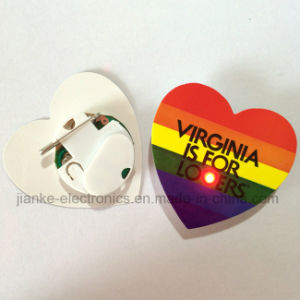 Promotion Gift Heart Shape LED Blinking Pins (3161) pictures & photos