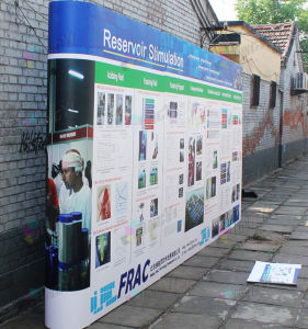Custom Large Size Promotion Display Tension curved pop up fabric banner pictures & photos