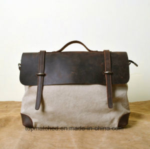 Wholesale Crazy Horse Leather Canvas Handbag First Layer Cowhide Leather Messenger Bag pictures & photos
