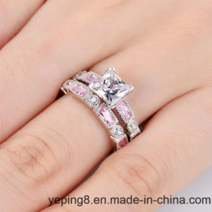 Princess Cut Clear Center Diamond Ring Set - 61 pictures & photos