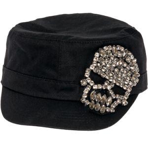 Skull Rhinestone Castro Cadet Hat pictures & photos